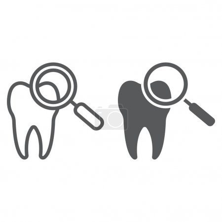 Dental check up line and glyph icon, stomatology and dental, magnifying sign vector graphics, a linear pattern on a white background, eps 10.
