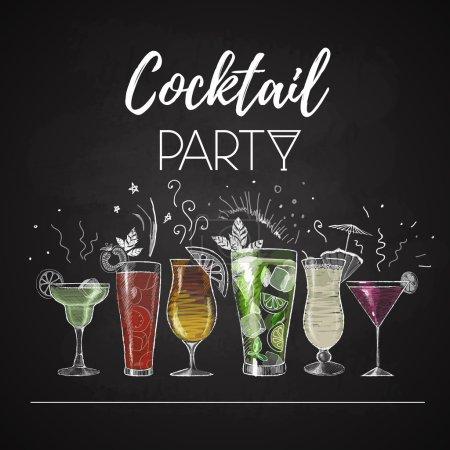 Illustration pour Des dessins à la craie. menu cocktail - image libre de droit