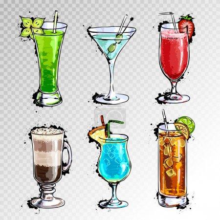 Illustration pour Illustration dessinée à la main d'un ensemble de cocktails - image libre de droit