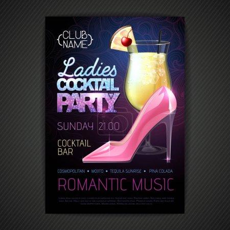 Foto de Disco ball background. Disco poster ladies cocktail party. Womens day party - Imagen libre de derechos