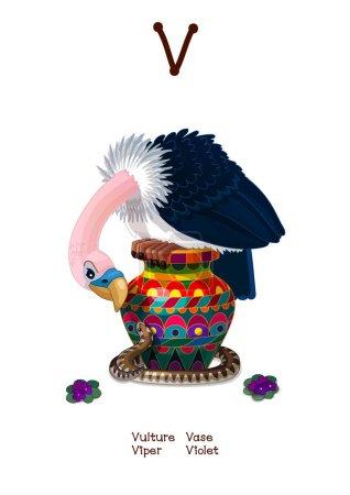 Illustration pour Vecteur Alphabet anglais série d'animaux amusants. Caricature lettre d'illustration V. Violet, Vulture, Viper, Vase. Clip art isolé sur fond blanc. SPE 10 - image libre de droit