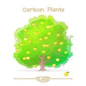 Plantae series cartoon plants: Apple tree full of apples
