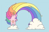 Colorful pastel girlish poster cute rainbow unicorn 02