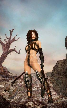 Photo pour Fantaisie guerrière avec des axes illustration de rendu 3D - image libre de droit