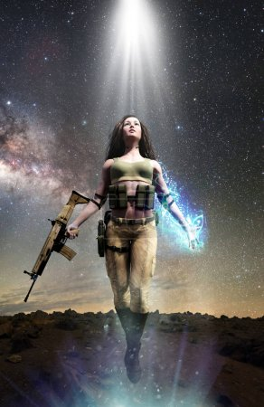 Photo for Soldier woman with paranormal magic powers - Royalty Free Image