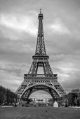 La tour Eiffel viewed from Champ de Mars in Paris, France. black and white photography