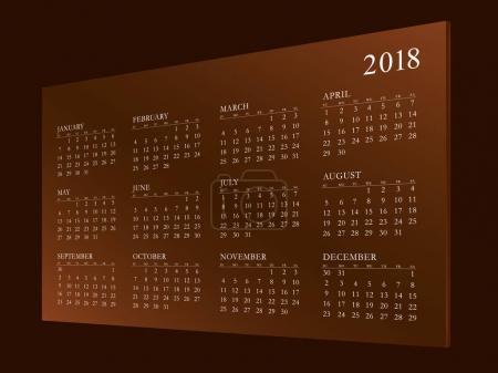 Calendar for Year 2018