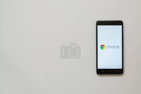 Google chrome logo on smartphone