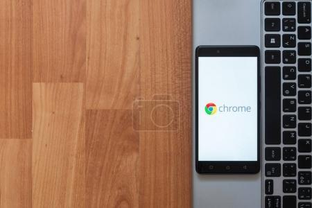 Google chrome on smartphone screen