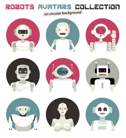 Photo for Varied collection of robots faces and heads for used as characters avatars. Imaginative and friendly colourful collection of happy andorids to give a fresh and futuristic image to your social networks. - Royalty Free Image