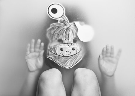 Girl in paper mask