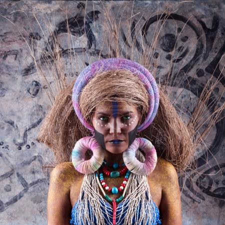 tribal woman with bright makeup