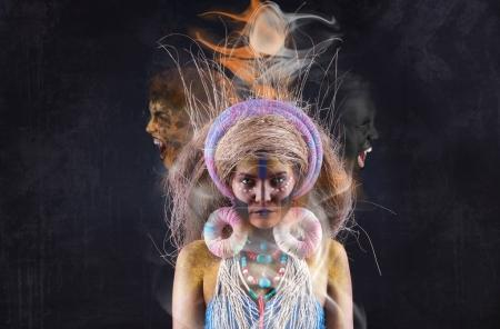 voodoo woman with spirits over