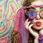Portrait of beauty hippie woman with stylish glass...