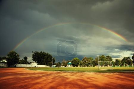 rainbow above playing field