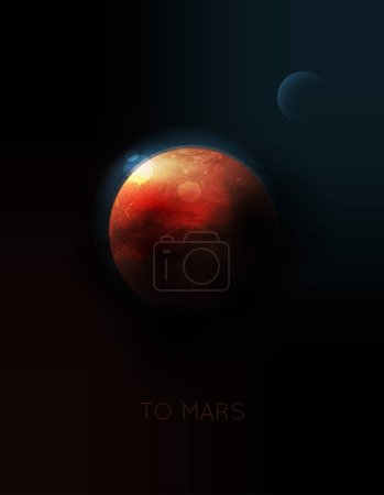 Illustration for Vector planet Mars in space - Royalty Free Image