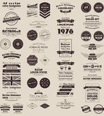 42 vector retro insignias Banners and badges Vector objects are grouped and separated by layers