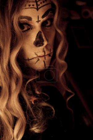 The face of the witch in halloween night....