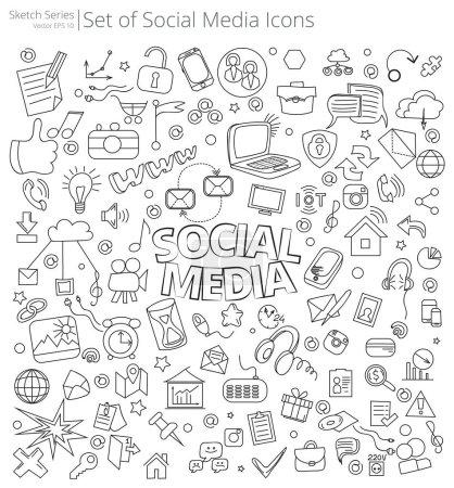 Photo pour Illustration vectorielle d'un grand ensemble d'icônes et de gribouillis des médias sociaux. Style de croquis dessiné à la main . - image libre de droit