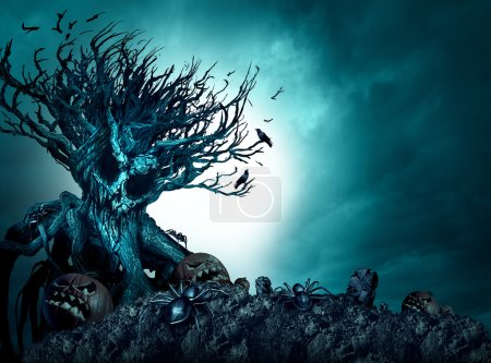 Photo for Halloween creepy background haunted ghost tree at night as an old growth plant shaped as a monster skull with pumpkins and spiders as a scary blue autumn cemetery scenery as a horror theme with 3D illustration elements. - Royalty Free Image