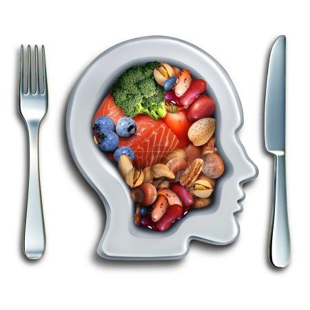 Photo pour Nourriture cérébrale pour stimuler le concept de nutrition cérébrale en tant que groupe de noix nutritives légumes de poisson et baies riches en acides gras oméga-3 avec vitamines et minéraux pour la santé mentale avec des éléments d'illustration 3D . - image libre de droit