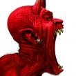 Devil scream character as a red demon or monster s...