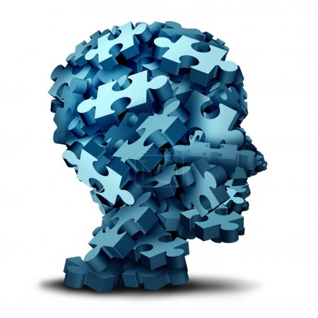 Photo for Psychology puzzle concept as a a group of 3D illustration jigsaw pieces shaped as a human head as a mental health symbol for psychiatry or psychology and brain disorder icon on a white backbround - Royalty Free Image