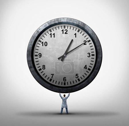 Photo pour Concept de temps médical en tant que médecin ou médecin généraliste tenant une horloge géante comme rendez-vous à l'hôpital et prise en charge des patients ou de l'horaire de chirurgie avec des éléments d'illustration 3D . - image libre de droit