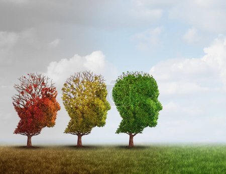 Photo for Dementia treatment and Alzheimer brain memory disease therapy concept as old trees recovering as a neurology or psychology cure metaphor with 3D illustration elements. - Royalty Free Image
