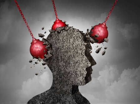 Photo for Painful Headache pain and pounding migraine concept as a human head made of cement being destroyed or renovated by a group of wrecking ball objects as a symbol for personal change as a 3D illustration. - Royalty Free Image