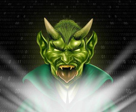 Photo pour Troll Internet et traîne monstre en utilisant les médias sociaux pour provoquer des tourments et anonymement bully membres de la communauté en ligne avec des éléments 3d internet. - image libre de droit