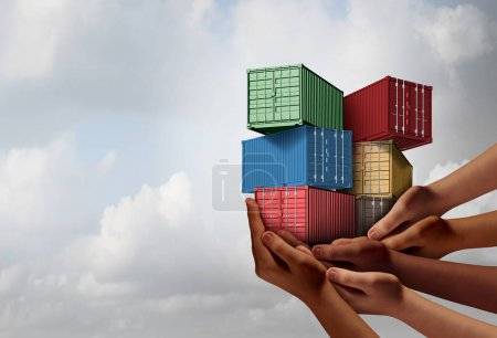 Photo for Cargo group shipping concept and international free trade agreement symbol as a group of diverse ethnic hands holding freight containers with 3D illustration elements. - Royalty Free Image