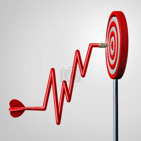 Photo for Profit target goal as a dart shaped as a rising financial chart diagram hitting a dartboard in the center as a business success metaphor for reaching strategic profitable revenue as a 3D illustration. - Royalty Free Image
