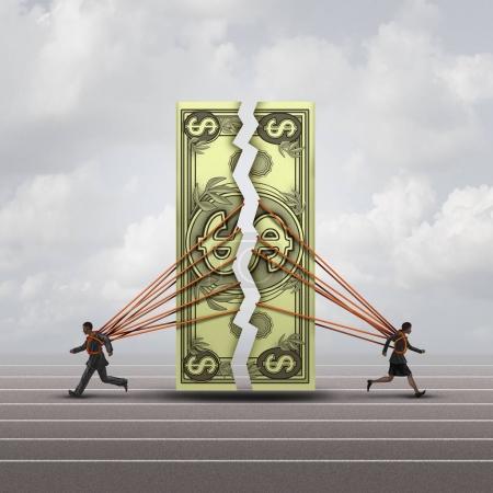 """Photo pour Concept d """"égalité de rémunération et symbole de l"""" écart salarial entre les hommes et les femmes en tant qu'homme et femme séparant un dollar générique en tant que métaphore de compensation financière pour l """"égalité sur le lieu de travail ou accord prénuptial avec des éléments d'illustration 3D . - image libre de droit"""