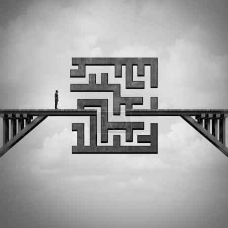 Photo for Concept of path challenge as a businessman on a bridge with a maze blocking the passage to the other side as a metaphor for solving adversity with 3D illustration elements. - Royalty Free Image