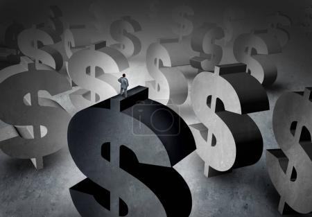 Photo pour Concept de planification de patrimoine et symbole de gestion de l'argent en tant que personne debout sur des panneaux en dollars regardant un fond d'opportunité de profit futur avec des éléments d'illustration 3D . - image libre de droit