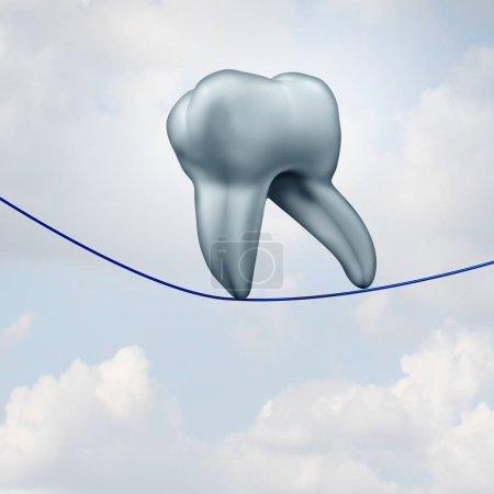 Photo pour Soie dentaire des dents et l'utilisation de la soie dentaire comme une dent humaine marchant sur un fil comme un concept de hygeiene par voie orale de dentiste ou l'art dentaire comme une illustration 3d. - image libre de droit