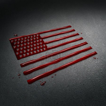Photo for United States tragedy and tragic crime in America concept as the blood of victims on the street after a sad attack shaped as the flag of the USA as a news social issue concept in a 3D illustration style. - Royalty Free Image