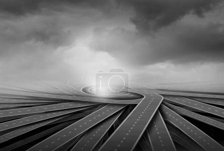 Photo for Centralization concept and center of business focus metaphor as a group of twisted paths connecting together as a 3D illustration. - Royalty Free Image