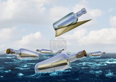 Photo for Communication innovation concept as a message in a bottle metaphor with a group of bottles with one glass container being transported by a note shaped as a paper airplane with 3D illustration elements. - Royalty Free Image