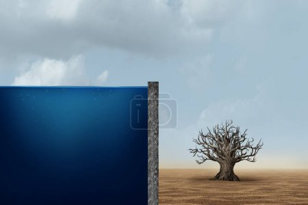 Photo for Unfair distribution and unequal capitalism business economic concept as one side with an ocean of water with a dead dry tree in the barren desert as an economic metaphor for inequality with the poor and wealthy in a 3D illustration style. - Royalty Free Image