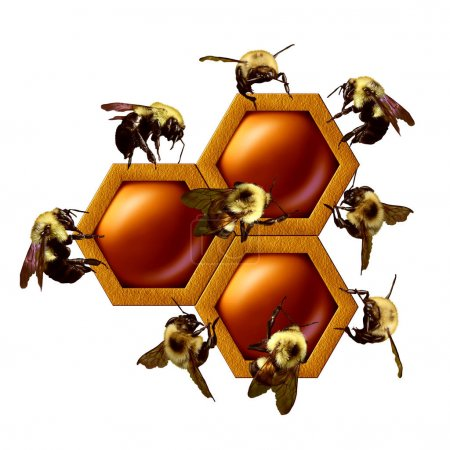 Teamwork project concept as a group of working bee...
