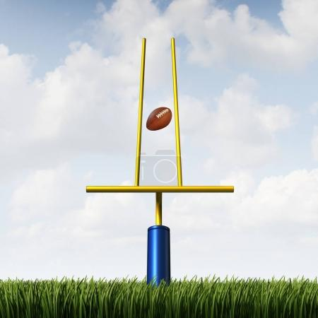 Photo for Market success challenge and sport game match fixing concept as a football scoring through an unfair tight restrained goal post as a business or life metaphor for overcoming obstacles and unfairness with 3D illustration elements. - Royalty Free Image