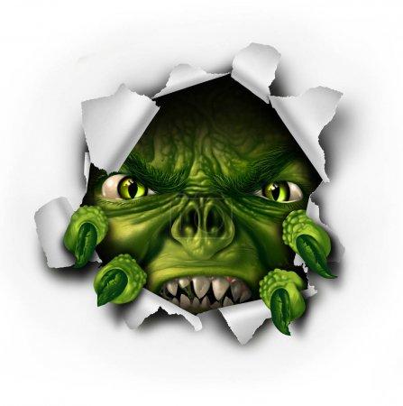 Photo pour Papier déchirant monstre avec des griffes pointues éclatant du trou déchiré comme un dangereux zombie effrayant ou une créature démoniaque avec une expression menaçante comme un élément d'Halloween avec des éléments d'illustration 3D . - image libre de droit