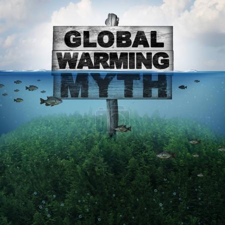Photo pour Mythe du réchauffement climatique et du changement climatique ou concept de conditions météorologiques extrêmes et élévation du niveau de la mer due au temps chaud et à la fonte des calottes glaciaires polaires comme une montagne sous l'eau inondée d'éléments d'illustration 3D . - image libre de droit