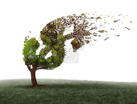 Photo for Economic turbulence and financial trouble and money adversity or economy crisis concept as a tree being blown by the wind and damaged or destroyed by the force of a storm as a business crisis metaphor with 3D illustration elements. - Royalty Free Image