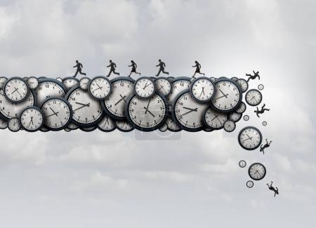 Photo for Working overtime health risk and work exhaustion symbol as business people running away from falling clock objects as a corporate stress metaphor with 3D illustration elements. - Royalty Free Image