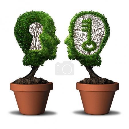Photo pour Solution clé partenaire et concept d'opportunité d'équipe comme deux arbres en forme de tête humaine avec une forme de clé et de trou de serrure comme métaphore de succès de collaboration avec des éléments d'illustration 3D . - image libre de droit