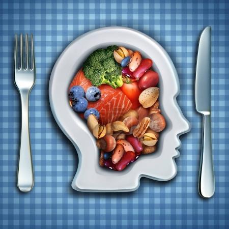 Photo pour Nutrition cérébrale et alimentation cérébrale sous forme de poisson et de noix avec brocoli et haricots dans un plat en forme de tête humaine en tant que symbole d'une alimentation saine avec des éléments d'illustration 3D . - image libre de droit
