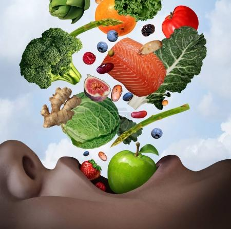 Photo for Healthy food diet concept as an open human mouth with nutritious fresh ingredients falling inside as salmon nuts berries beans vegetables and fruit as a dietary and wellness lifestyle in a 3D illustration style. - Royalty Free Image